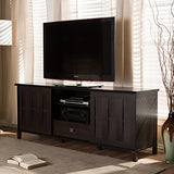 "Baxton Studio Wholesale Interiors Unna Wood TV Cabinet with 2 Sliding Doors and Drawer, 70"", Dark Brown"
