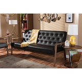 Baxton Studio Sorrento Mid-Century Retro Modern Faux Leather Upholstered Wooden 3-Seater Sofa, Brown