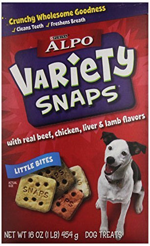 ALPO Variety Snaps Little Bites Dog Treats with Beef, Chicken, Liver & Lamb Flavors 16 oz. Box