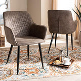 Baxton Studio Dining Chairs, Grey/Brown/Black