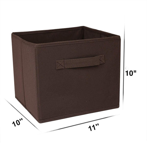 Unique Home Storage Cubes - Collapsible Storage Basket Bin Organizer Containers, Fabric Drawers, SpaceSaving & Light Weight for Travel - 6 Piece Set, Coffee