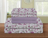 UNIQUEHOME 85 G 6pcs bedsheet set,flower print, 6BEP#16 (purple/ white)