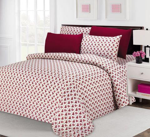 UNIQUEHOME 85 G 6pcs bedsheet set, flower print, 6BEP#17 (burgandy)