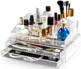 Felicite Home Acrylic Jewelry and Cosmetic Storage Makeup Organizer Set, Large Size 13.5W x 9.0D x 6.9H Inch