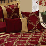 HIG 7 Piece Comforter Set King- Burgundy and Gold Taffeta Fabric Embroideried- Claremont Bed in A Bag King Size- Smooth and Good Gloss-1 Comforter,2 Shams,3 Decorative Pillows,1 Bedskirt Burgundy King