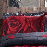 3D Comforter Set King - 3 Piece 3D Rose Love Romantic Moment Print Comforter Set King Size (Y28) - Box Stitched, Soft, Breathable, Hypoallergenic, Fade Resistant -Includes 1 Comforter, 2 Shams King