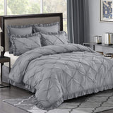 Hania 5 Piece All-Season King Size Pinch Pleat Bed in A Bag - Scallop Fringe - Ruffle Lace - Shabby Chic Style- Hypoallergenic Polyester Fill - Lightweight & Elegant Package Gray Comforter Set King Gray