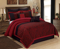 HIG 8 Piece Comforter Set King- Burgundy Jacquard Fabric Patchwork-Wisteria Bed In A Bag King Size- Soft Texture,Good Drapability-1 Comforter,2 Shams,2 Euro Shams,2 Decorative Pillows,1 Bedskirt Burgundy King