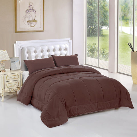 All Season Alternative Goose Down Comforter Plush Fiberfill Duvet Insert All Sizes (Brown, Twin XL)