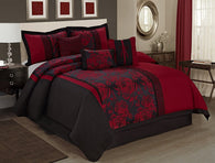 HIG 7 Piece Comforter Set King-Burgundy Jacquard Fabric Patchwork-PEONY Bed In A Bag King Size- Soft Texture,Smooth,Good Drapability-Includes 1 Comforter,2 Shams,3 Decorative Pillows,1 Bedskirt Burgundy King