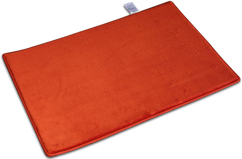 Townhouse Luxury Memory Foam Bath Rug,Absorbent Super Cozy Velvet Bathroom Rug Carpet 16x22 in (Orange)