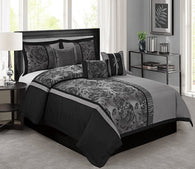 HIG 7 Piece Comforter Set King-Gray Jacquard Fabric Patchwork-PEONY Bed In A Bag King Size- Soft Texture,Smooth,Good Drapability-Includes 1 Comforter,2 Shams,3 Decorative Pillows,1 Bedskirt Gray King