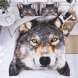 3D Bedding Set 3 Piece Queen Size Wolf Head Animal Print Comforter Set with Two Matching Pillow Covers -Box Stitched Quilted Duvet -General for Men and Women Especially for Children (P26,Queen)