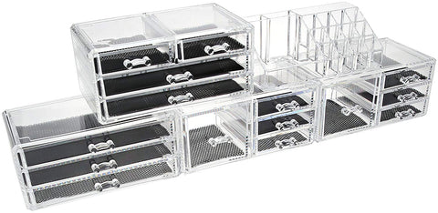 Make Up Acrylic Jewelry & Cosmetic Storage box Clear Makeup Organizer, 5 Piece Set