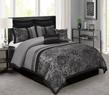 HIG 8 Piece Comforter Set King-Gray Jacquard Fabric Patchwork-Tang Bed In A Bag King Size- Soft Texture,Smooth,Good Drapability-1 Comforter,2 Shams,2 Euro Shams,2 Decorative Pillows,1 Bedskirt Gray King