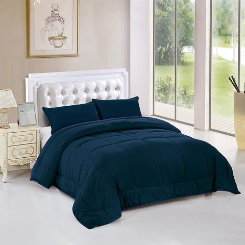 All Season Alternative Goose Down Comforter Plush Fiberfill Duvet Insert All Sizes (Navy, Twin XL)