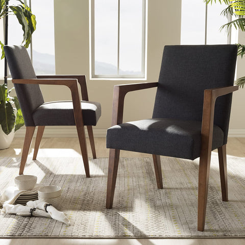 Baxton Studio Upholstered Wooden Armchair in Dark Gray and Walnut