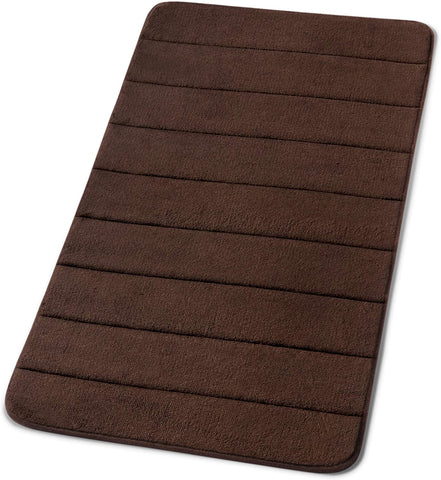 Simple Deluxe Dark Brown Bath or Kitchen Mat, Memory Foam Rug, Non Slip Backing, Washable, Absorbent 19.5x36 Brown