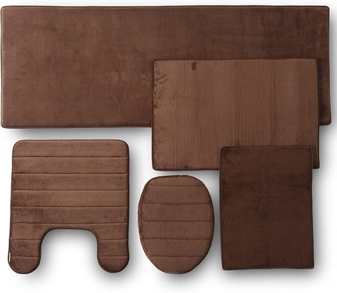 5PC MEMORY FOAM BATHROOM SET COMBO - CHOCOLATE