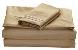 BELLAHOME 75g 4pcs bedsheet set, luxury embroidery, BSEM13 TAUPE