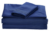 BELLAHOME 75g 4pcs bedsheet set, luxury embroidery, BSEM13 DARK BLUE