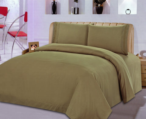 BELLAHOME 75g 4pcs bedsheet set, luxury embroidery, BSEM13 CAMEL