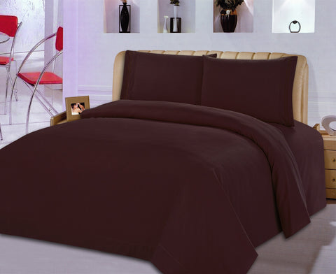 BELLAHOME 75g 4pcs bedsheet set, luxury embroidery, BSEM13 COFFEE
