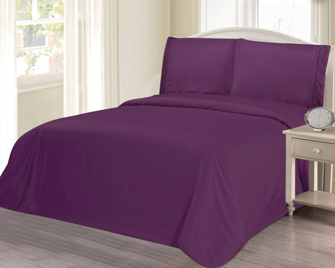 BELLAHOME 75g 4pcs bedsheet set, luxury embroidery, BSEM17 PURPLE
