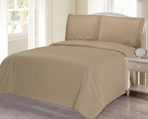 BELLAHOME 75g 4pcs bedsheet set, luxury embroidery, BSEM17 TAUPE