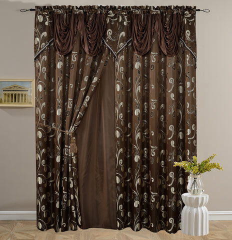 BELLAHOME Luxury 2panels curtain with Attached Valance, CELIA-COFFEE-54*84""