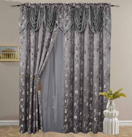 BELLAHOME Luxury 2panels curtain with Attached Valance, CELIA-D.GRAY-54*84""