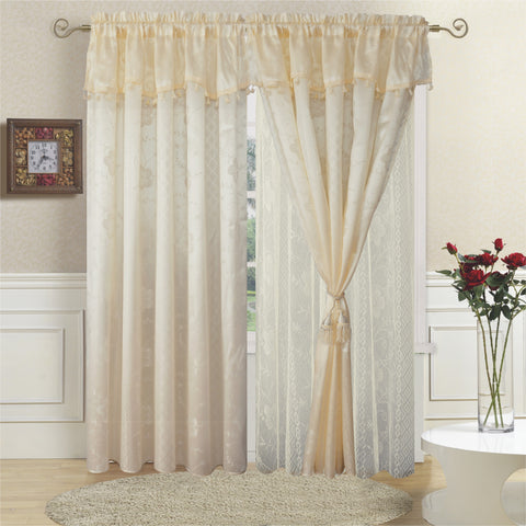 TEXTILE KING 2pcs curtain panel, CRT-BEIGE