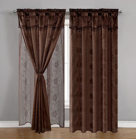 TEXTILE KING 2pcs curtain panel, CRT-COFFEE