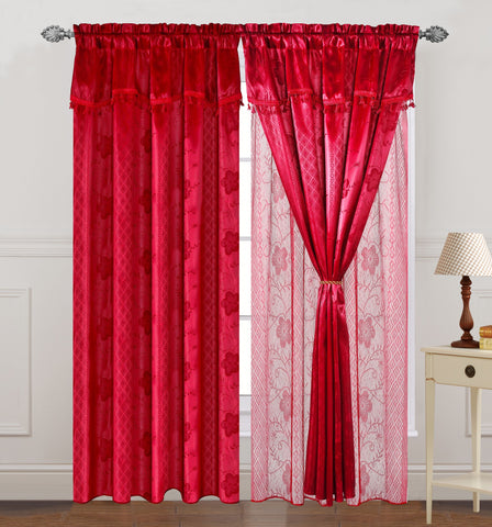 TEXTILE KING 2pcs curtain panel, CRT-RED