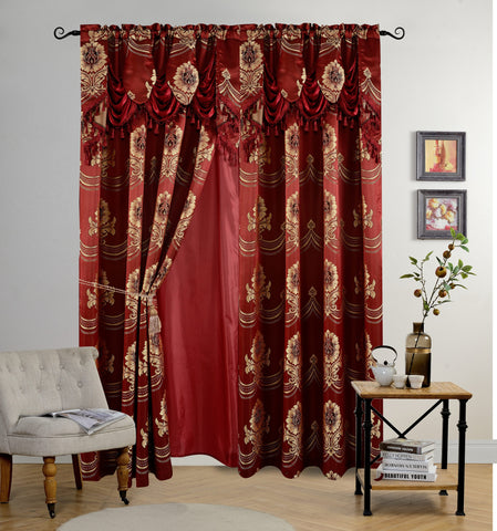 BELLAHOME Luxury 2panels curtain with Attached Valance, DAHLIA-BURGUNDY-54*84""