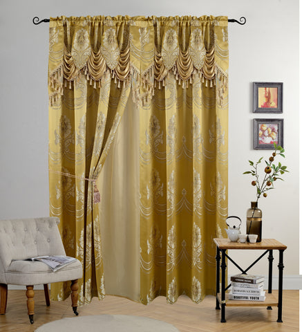 BELLAHOME Luxury 2panels curtain with Attached Valance, DAHLIA-GOLD-54*84""