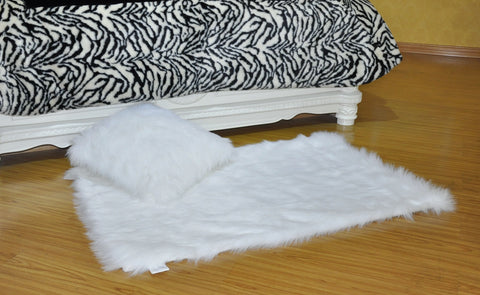 LUCY'S Faux Fur Plush Rug & Cushion Set, FR15006 & FC15006 WHITE