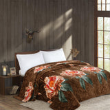 OSAKA high quality thick flannel blanket, HIBISCUS, HB-1 BROWN