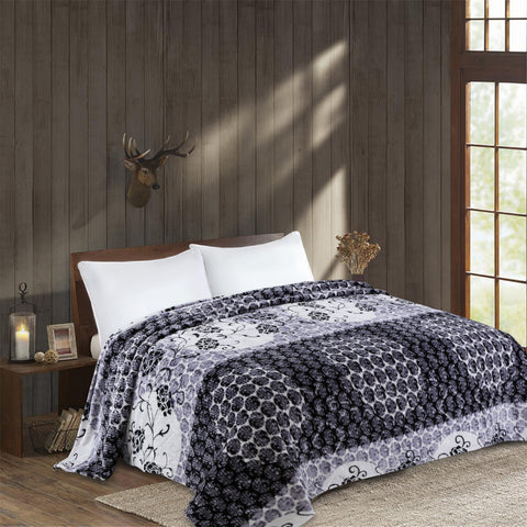 OSAKA high quality thick flannel blanket, HIBISCUS, HB-2 GRAY