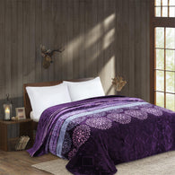 OSAKA high quality thick flannel blanket, HIBISCUS, HB-5 PURPLE