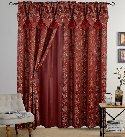BELLAHOME Luxury 2panels curtain with Attached Valance, IRIS-BURGUNDY-54*84""