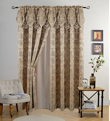 BELLAHOME Luxury 2panels curtain with Attached Valance, IRIS-TAUPE-54*84""