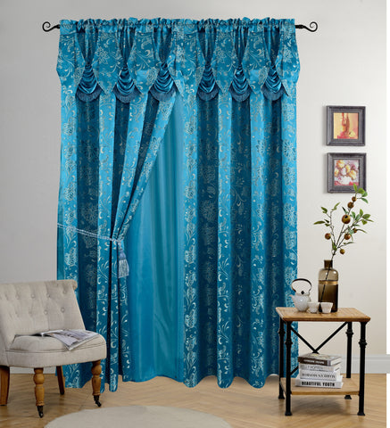 BELLAHOME Luxury 2panels curtain with Attached Valance, IRIS-TEAL BLUE-54*84""