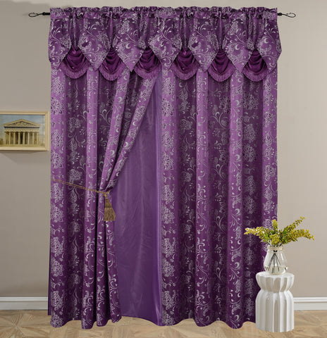 BELLAHOME Luxury 2panels curtain with Attached Valance, IRIS-D.PURPLE-54*84""