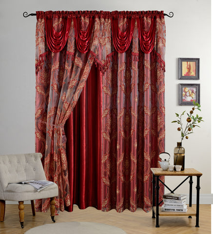 BELLAHOME Luxury 2panels curtain with Attached Valance, LOTUS-BURGUNDY-54*84""