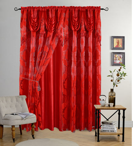 BELLAHOME Luxury 2panels curtain with Attached Valance, LOTUS-RED-54*84""