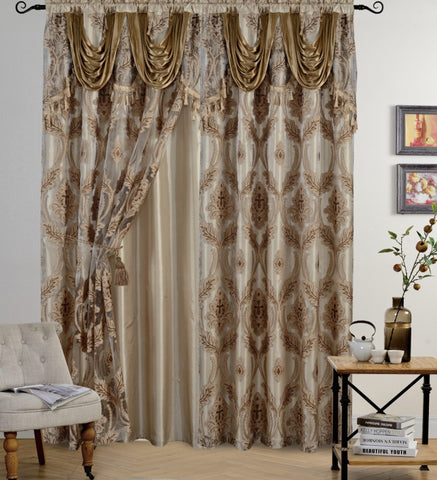 BELLAHOME Luxury 2panels curtain with Attached Valance, LOTUS-TAUPE-54*84""