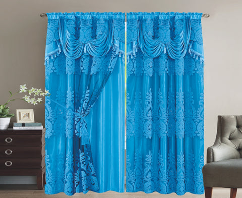 BELLAHOME  2panels curtain with Attached Valance, MONICA-AQUA