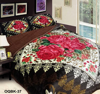 OSAKA 3 piece quilted borrego blanket set, OQB-37 COFFEE