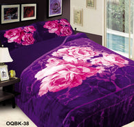 OSAKA 3 piece quilted borrego blanket set, OQB-38 PURPLE